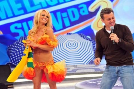 Pamela Anderson Caldeirão Do Huck1 Pamela Anderson Vai Ao «Caldeirão Do Huck»