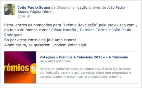 João Paulo Sousa está nomeado para Revelação do Ano e já conta com o apoio dos fãs