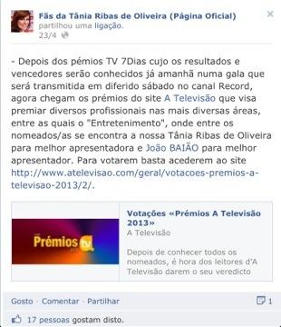 Conhecido e apoiado pela apresentadora, o clube de fãs de Tânia apressou-se a pedir a vitória