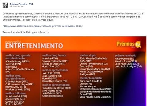 Eis o post escrito na página oficial de Cristina Ferreira; pouco depois Goucha partilhava a mesma mensagem