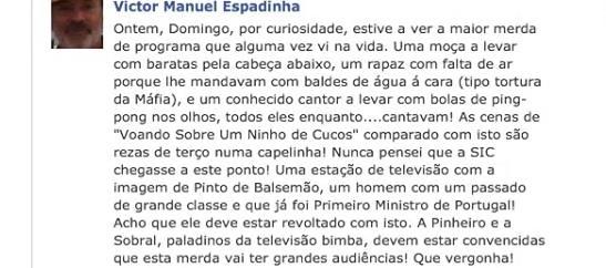 Esta foi a mensagem deixada por Victor Espadinha no seu Facebook