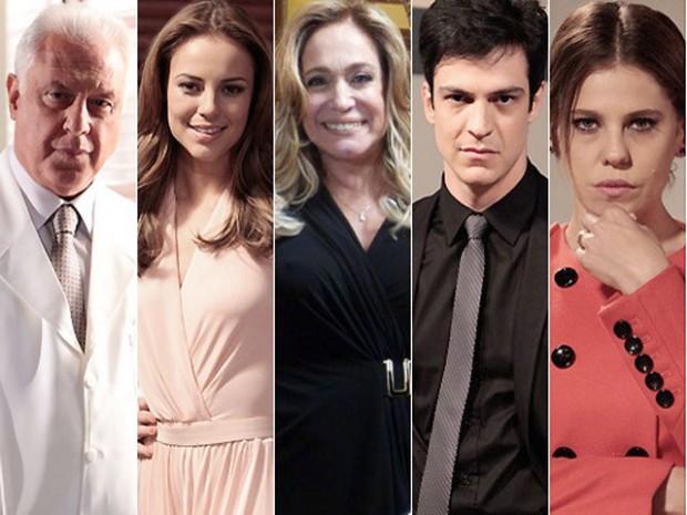 «César» (António Fagundes), «Paloma» (Paolla Oliveira), «Pilar» (Susana Vieira), «Félix» (Mateus Solano) e «Edith» (Bárbara Paz) de «Amor à Vida».