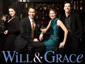 WILL & GRACE -- NBC Series -- Pictured: (l-r) Megan Mullally as Karen Walker, Eric McCormack as Will Truman, Debra Messing as Grace Adler, Sean Hayes as Jack McFarland -- NBC Photo: George Lange