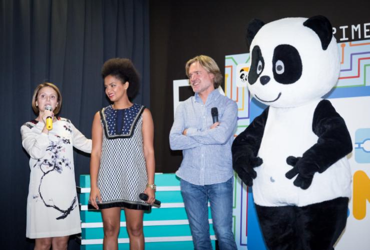 Isabel Mimoso, diretora do Canal Panda, Cláudia Semedo e Piet Hein Bakker