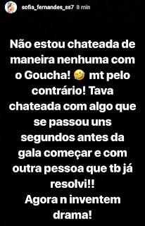 Sofia Fernandes Manuel Luis Goucha Casa Dos Segredos Instagram Sofia Nega Estar Chateada Com Goucha