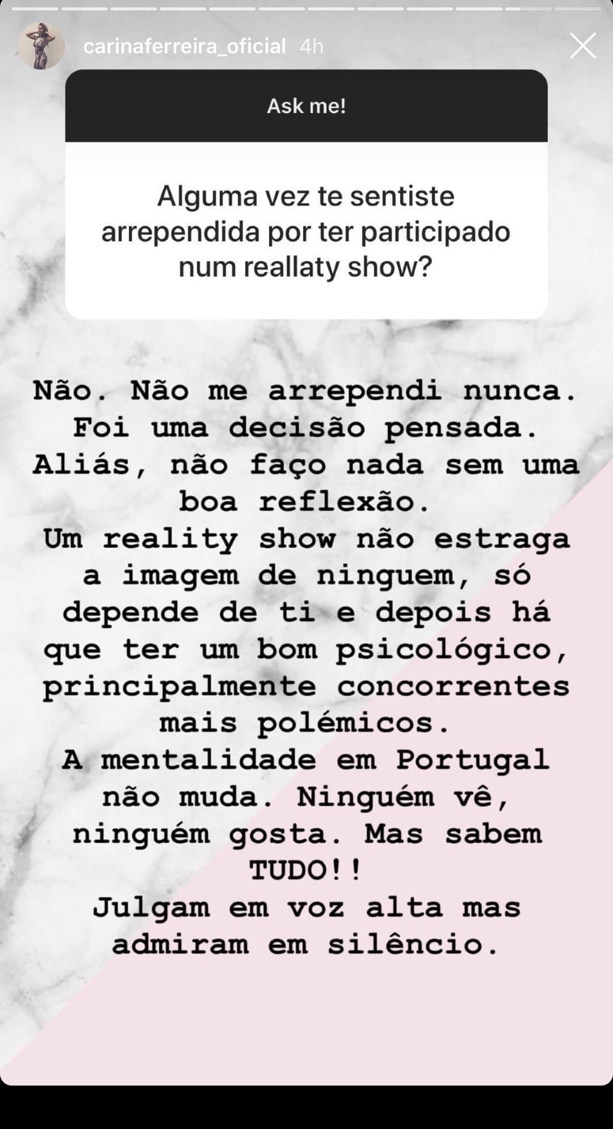 Carina Ferreira Reality Shows Carina Ferreira: &Quot;Reality Show Não Estraga A Imagem De Ninguém&Quot;