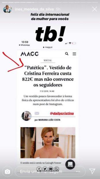 1 2 Agente De Cristina Ferreira Reage Às Críticas Feitas À Apresentadora