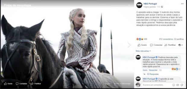 Got Fb Hbo Portugal Prometeu, Mas Não Cumpriu: 'Game Of Thrones' Estreou Com Atraso