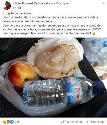 Almoço bombeiros incêndio Vila de Rei desabafo Fábio Manuel Pelica