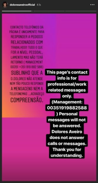 Dolores Aveiro Pede Compreensão Dolores Aveiro Apela À Compreensão Dos Fãs
