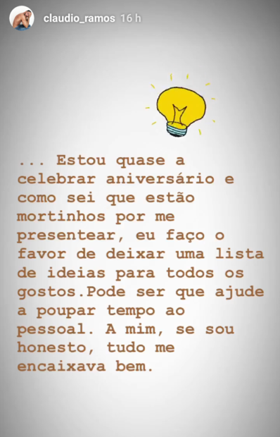 2 1 Cláudio Ramos Faz Lista De Prendas Que Quer Para O Seu Aniversário