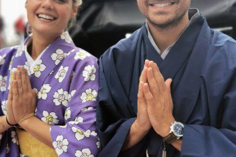 Lourencokelly De Férias, Kelly Bailey E Lourenço Ortigão Vestem-Se À Japonesa