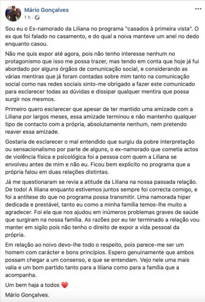 Mario Goncalves Liliana Casados 1 Ex-Namorado De Liliana De Casados À Primeira Vista Quebra O Silêncio