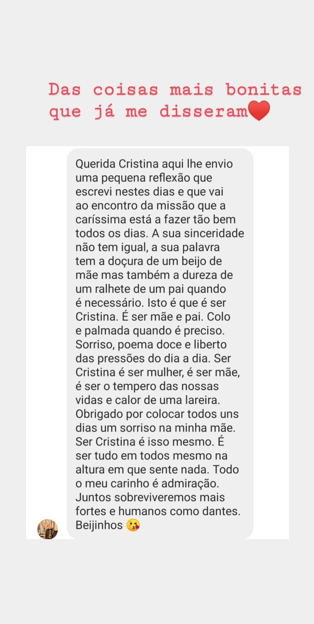 Cristina Ferreira Mensagem Fa 1 Scaled Cristina Ferreira Recebe Mensagem Emotiva De Fã: &Quot;Das Coisas Mais Bonitas Que Já Me Disseram&Quot;