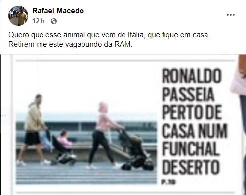"""rafael macedo Cristiano Ronaldo é chamado de """"vagabundo"""" e """"animal"""" por político e Elma Aveiro revolta-se"""