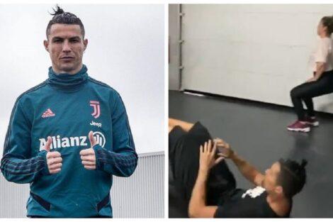 Cristiano Ronaldo Treino Em Familia Na Garagem1 Em Quarentena, Cristiano Ronaldo Põe A Família Toda A &Quot;Mexer&Quot;