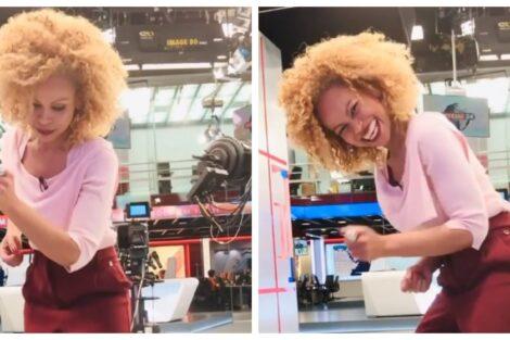 Conceicao Queiroz Jornalista Da Tvi Mostra-Se A Dançar No Estúdio