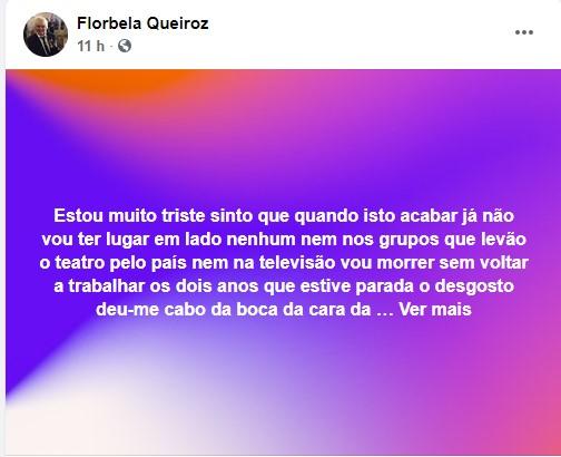 Florbela Queiroz Florbela Queiroz Desabafa: &Quot;Vou Morrer Sem Voltar A Trabalhar&Quot;