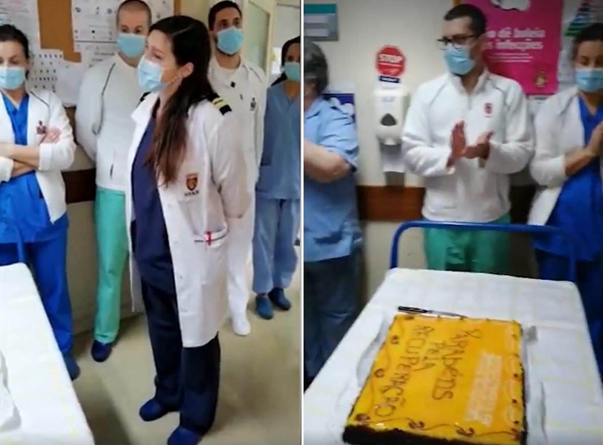 Hospital Festeja Médicos Portugueses Festejam A Cura De 11 Idosos Infetados Com Covid-19