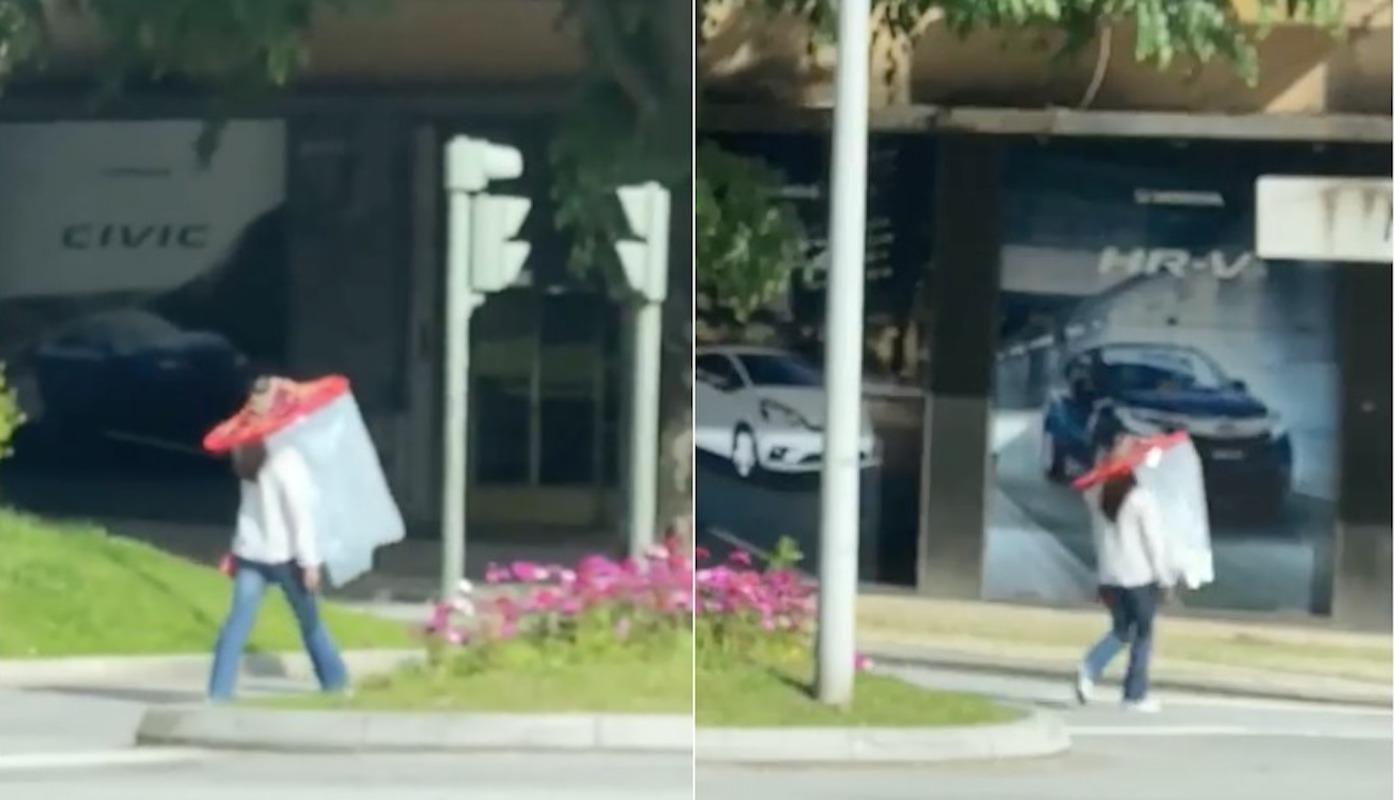 Mulher Filmada Rua De Braga Com Viseira Vídeo: Mulher Passeia Nas Ruas De Braga Com Viseira Xxl