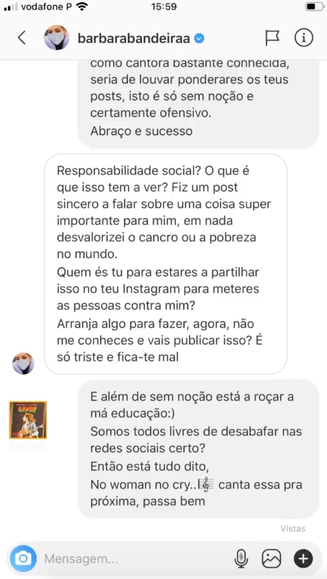 Barbara Bandeira Debora Picoito 2 Bárbara Bandeira Chora Com Adiamento Do Concerto, É Arrasada E Responde! Veja As Mensagens