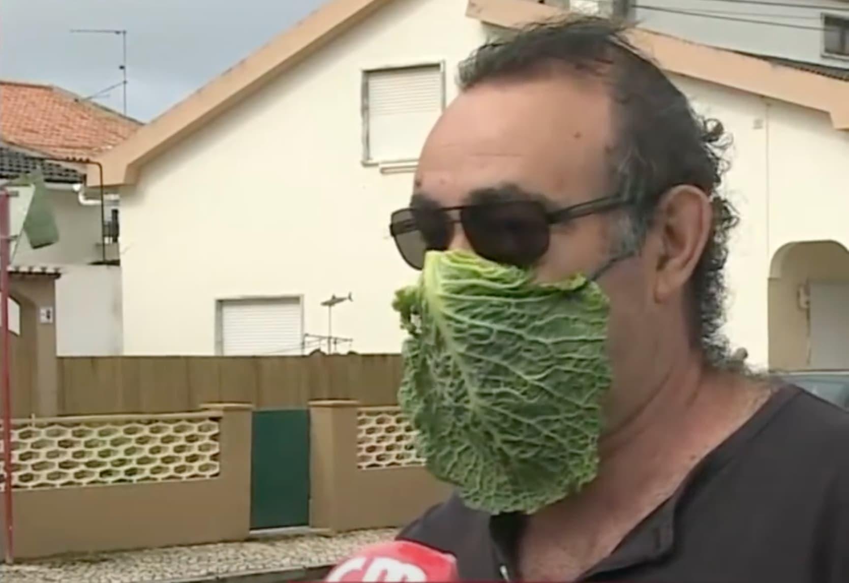 Homem Mascara Couve Cmtv Entrevista Homem A Usar Uma Máscara De Proteção Insólita