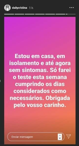 Cristina Ferreira Mensagem Covid
