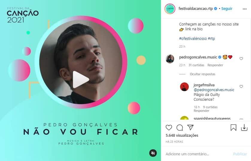 Pedro Gonçalves, Festival Da Canção, Rtp1, Não Vou Ficar