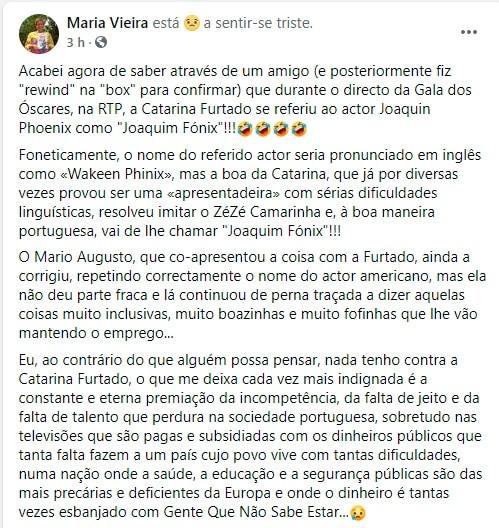 Maria Vieira, Facebook