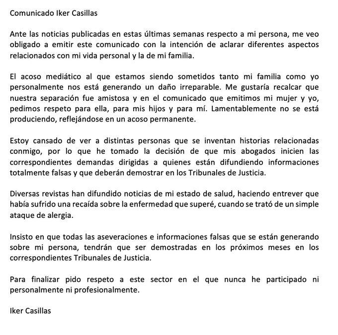 Iker Casillas, Comunicado
