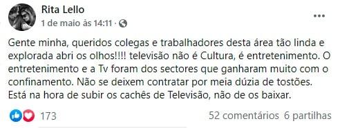 Rita Lello, Facebook