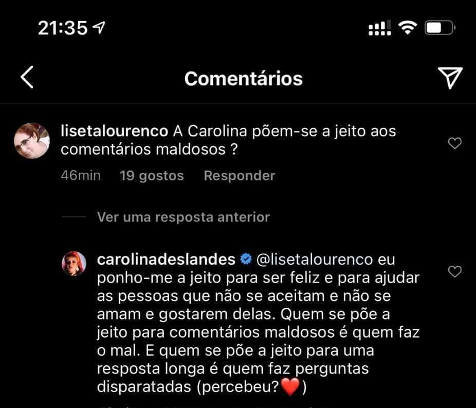 Carolina Deslandes, Comentário, Instagram