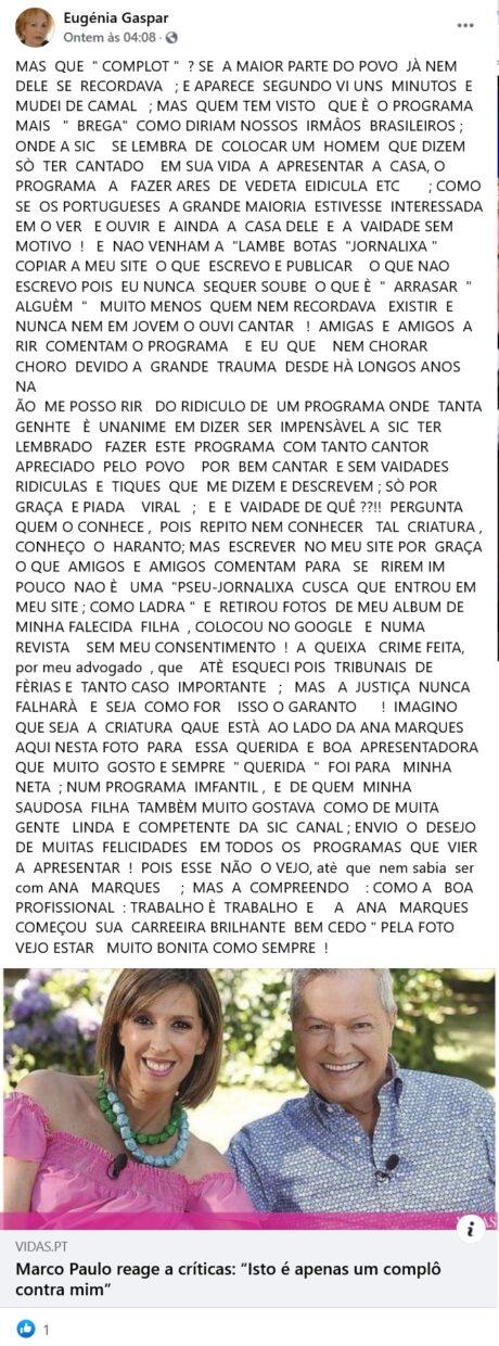 Eugénia Gaspar, Critica, Marco Paulo