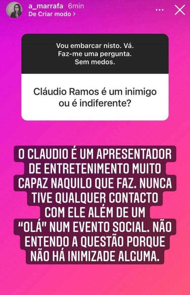 Rita Marrafa De Carvalho, Instastory, Cláudio Ramos