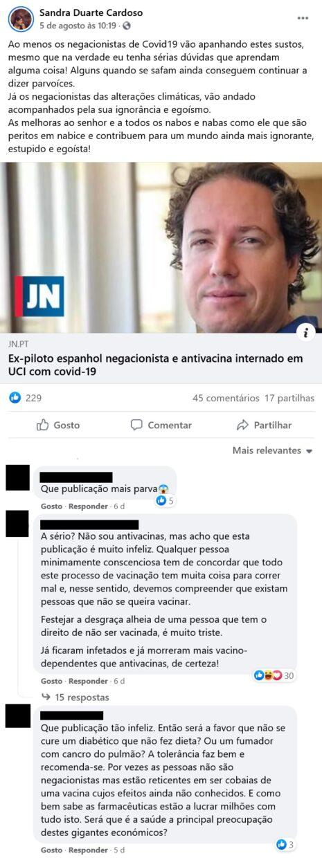 Sandra Duarte Cardoso, Critica Negacionistas