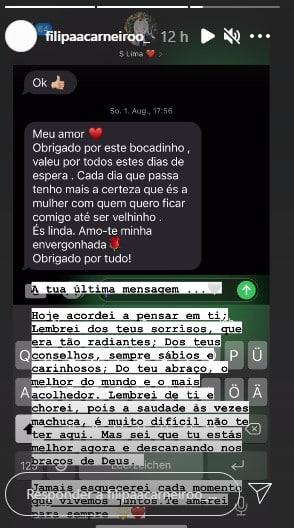 Filipa Carneiro, Última Mensagem De Sandro Lima