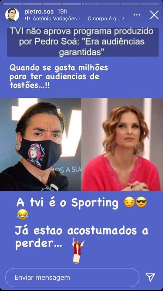 Pedro Soá, Instastory, Ataque, Tvi