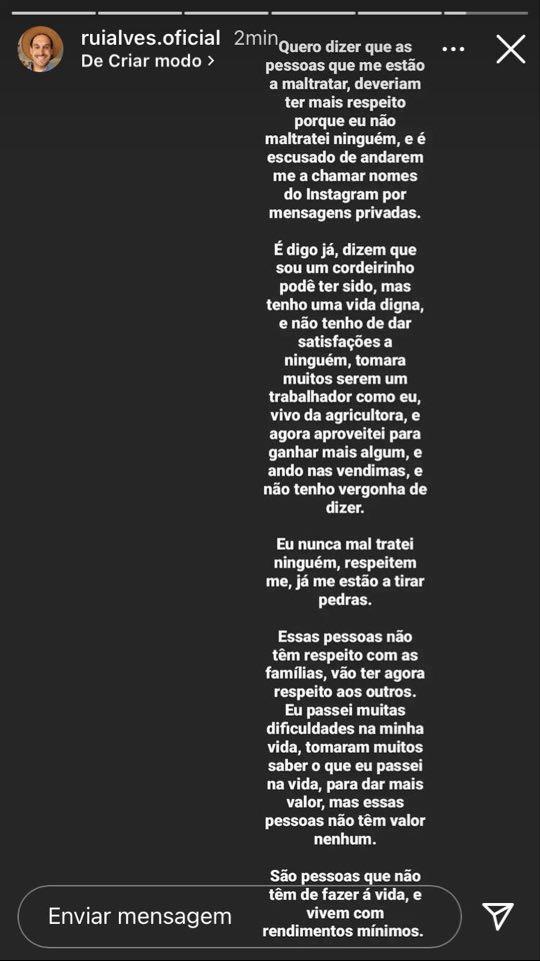 Rui Alves, Instastory, Criticas